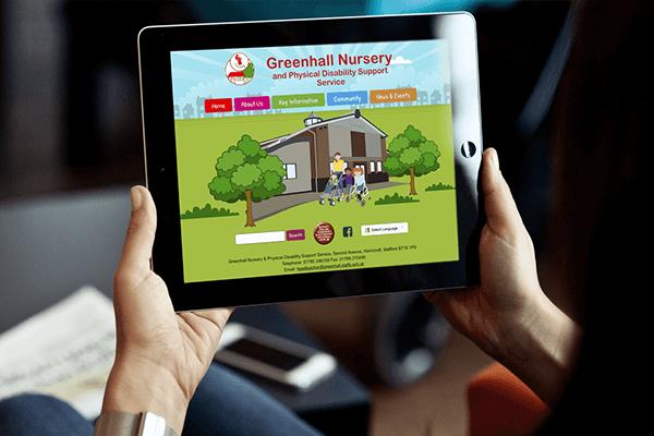 iPad image of Greenhall School website design