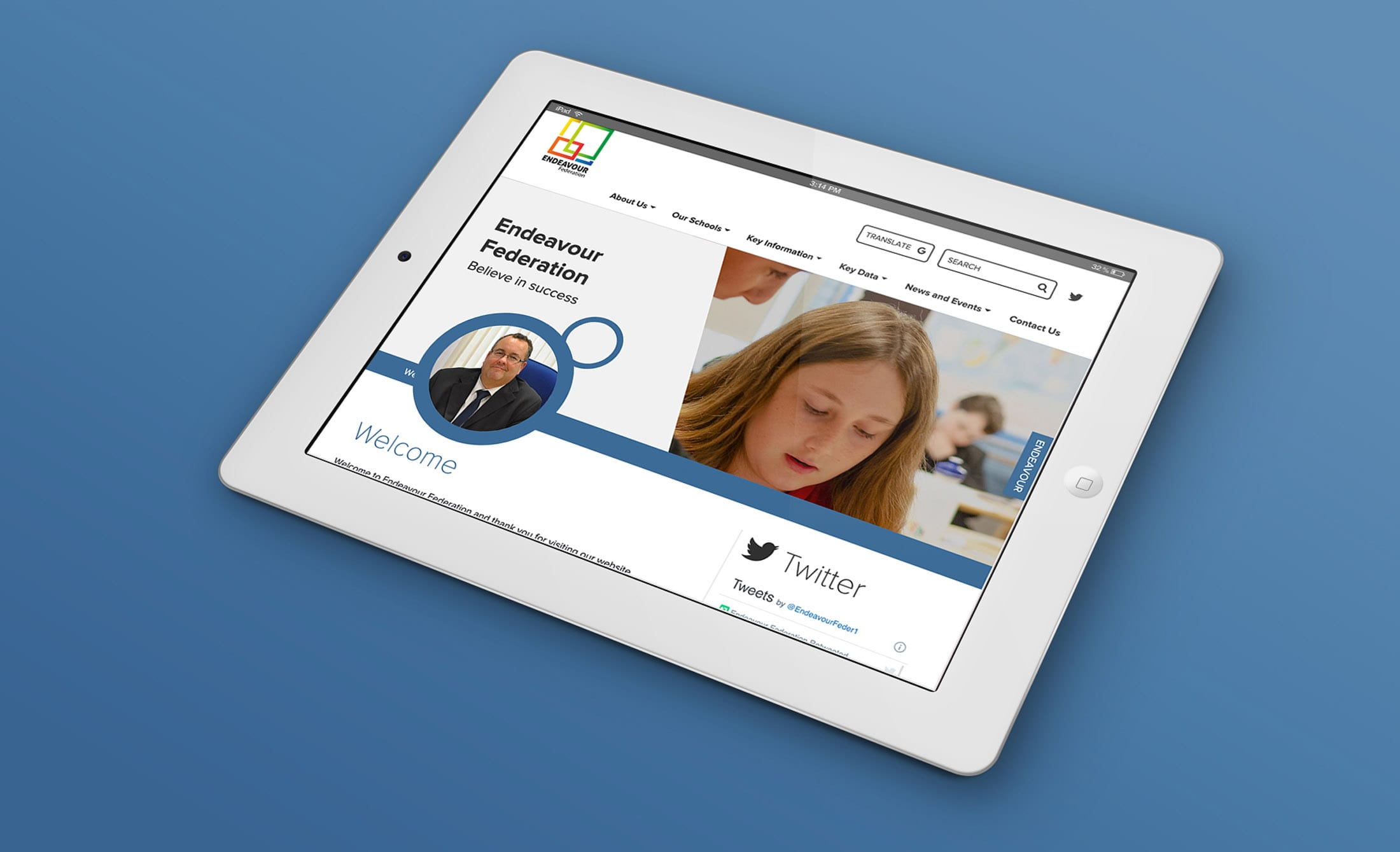 Website design for Endeavour Federation, Manchester